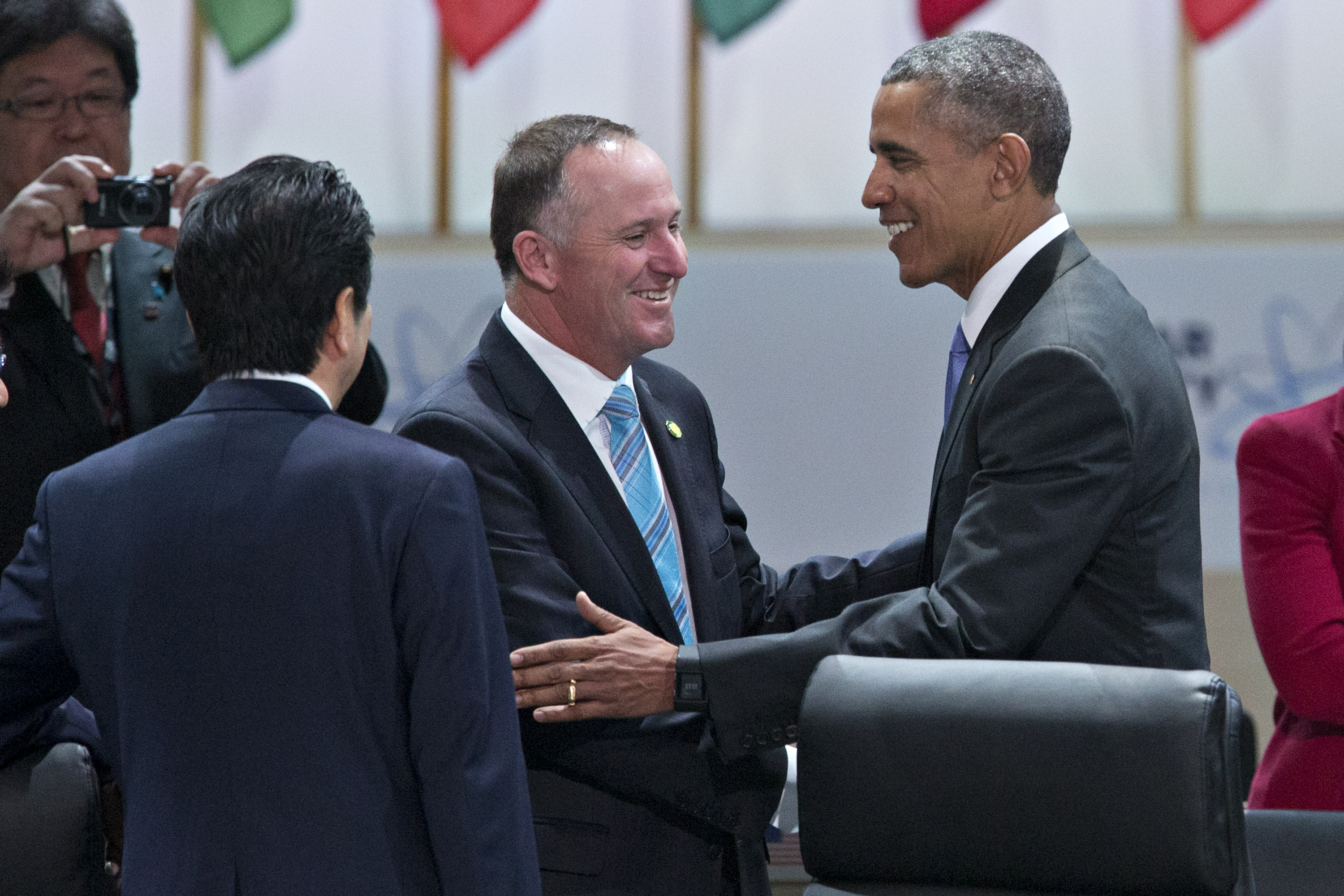 President Barack Obama shakes hands with New Zealand Prime Minister John Key April 1 during the nuclear security summit in Washington. New Zealand assumes the presidency of the UN Security Council in September, when a U.S.-backed resolution reinforcing the global norm against nuclear testing may be adopted. [Photo credit: Andrew Harrer-Pool/Getty Images]