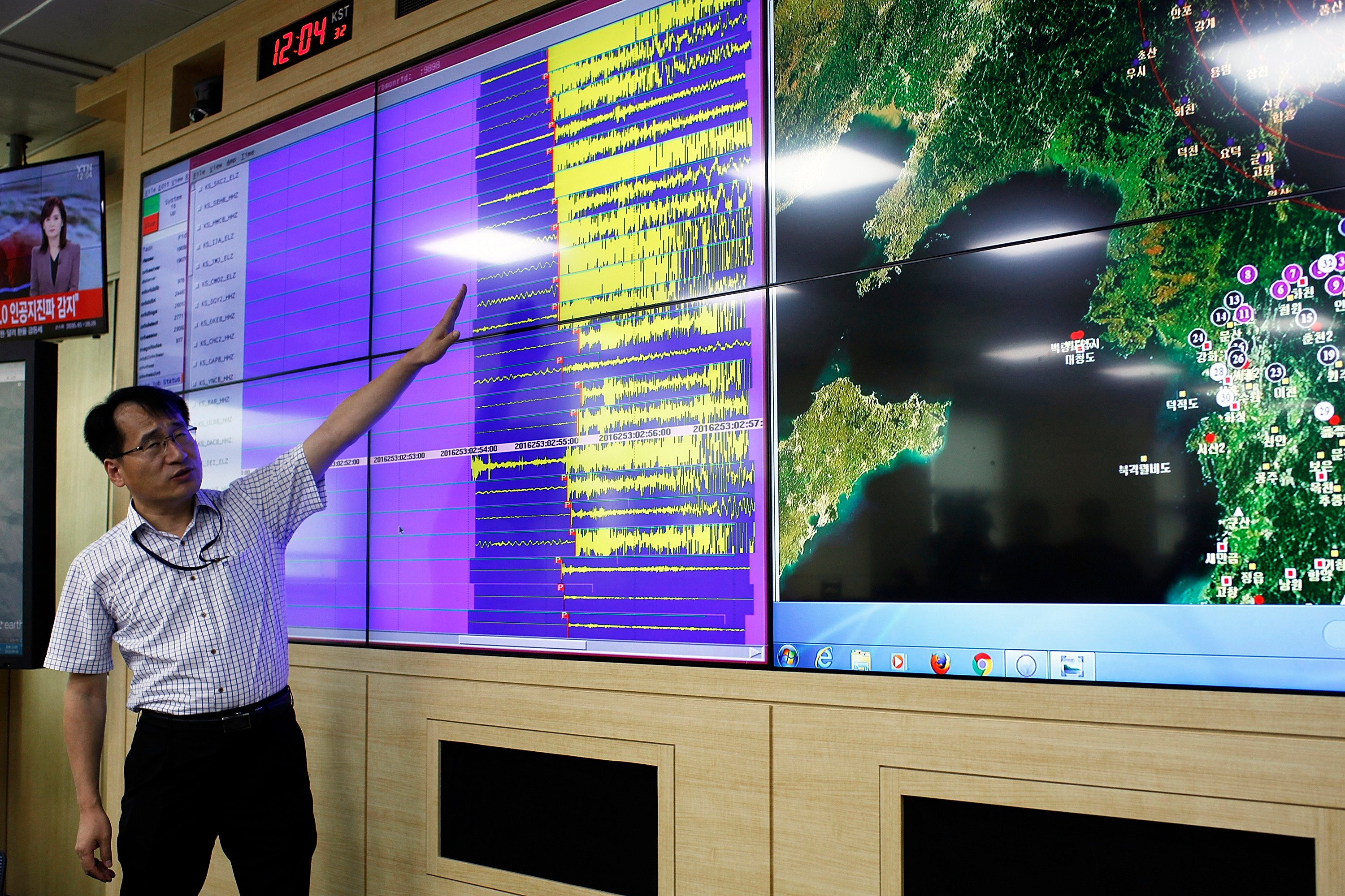 Researchers in South Korea check the seismic waves caused by a North Korean underground nuclear explosion September 9, which resulted in a magnitude 5.1 earthquake at the test site. (Photo credit: Woohae Cho/Getty Images)