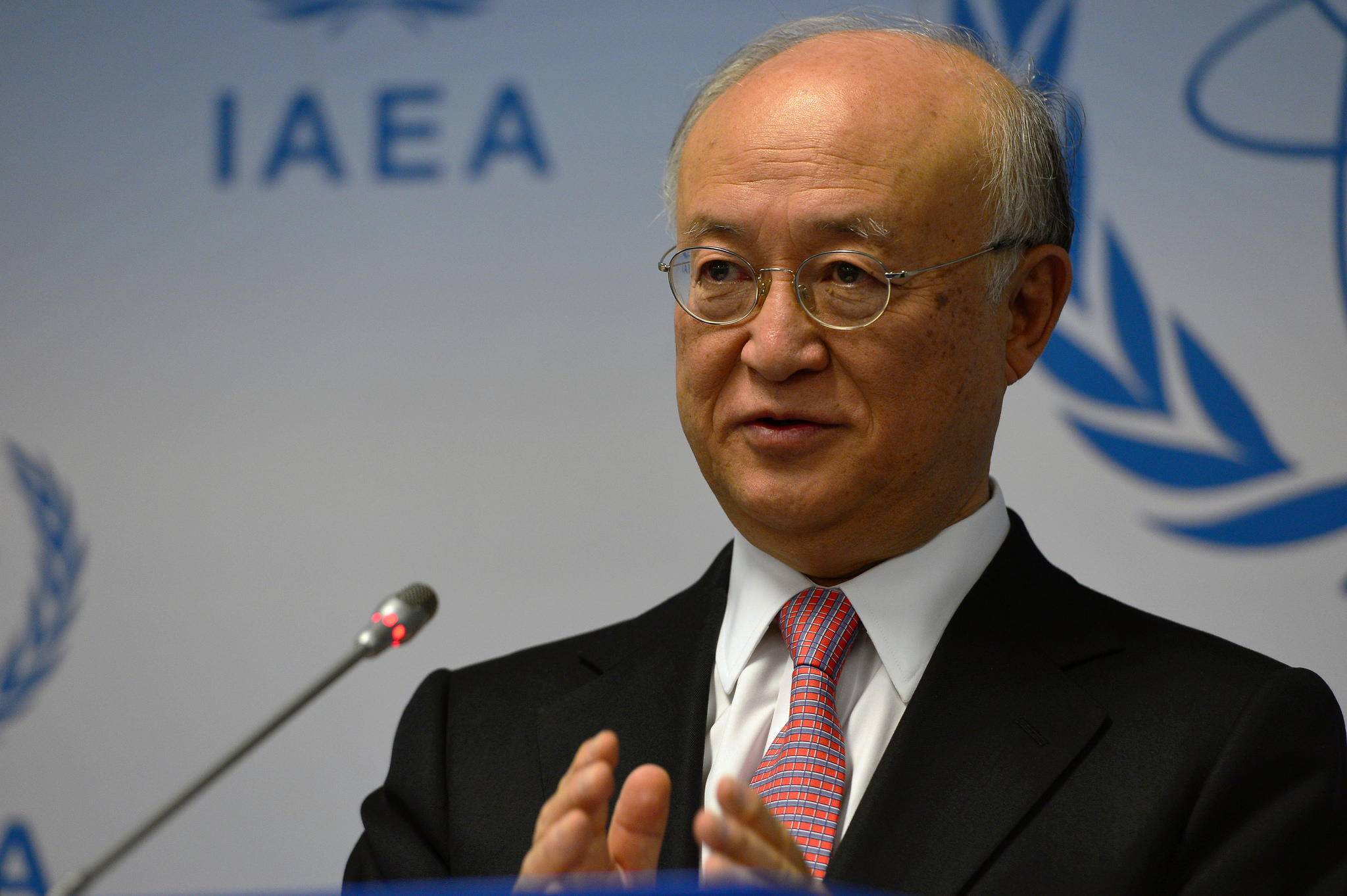 IAEA Director General Yukiya Amano briefs members of the media at a press conference held during the 1425th Board of Governors meeting at the Agency headquarters in Vienna, Austria. 15 December 2015 [Photo Credit: Dean Calma / IAEA]