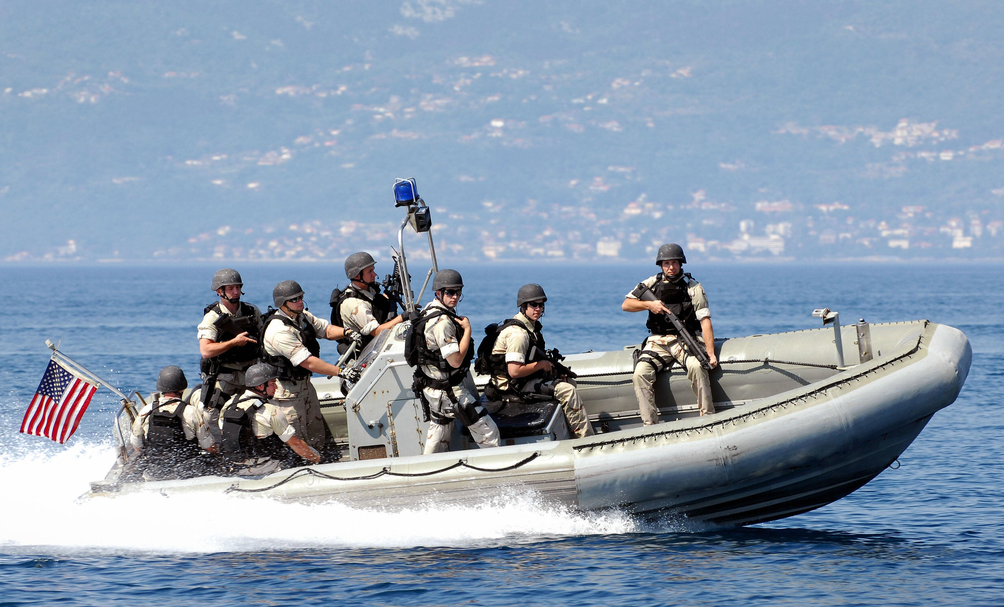 Members of seven countries participate in an exercise known as Adriatic Shield as part of the Proliferation Security Initiative in the waters near the Croatian port city of Rijeka on May 13, 2008. (Photo credit: Stringer/AFP/Getty Images)