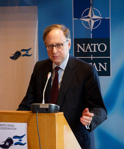 "NATO Deputy Secretary-General Alexander Vershbow, shown in this November 2014 photo, said recent Russian actions and comments dealing with the country's nuclear arsenal were ""irresponsible."" (NATO)"