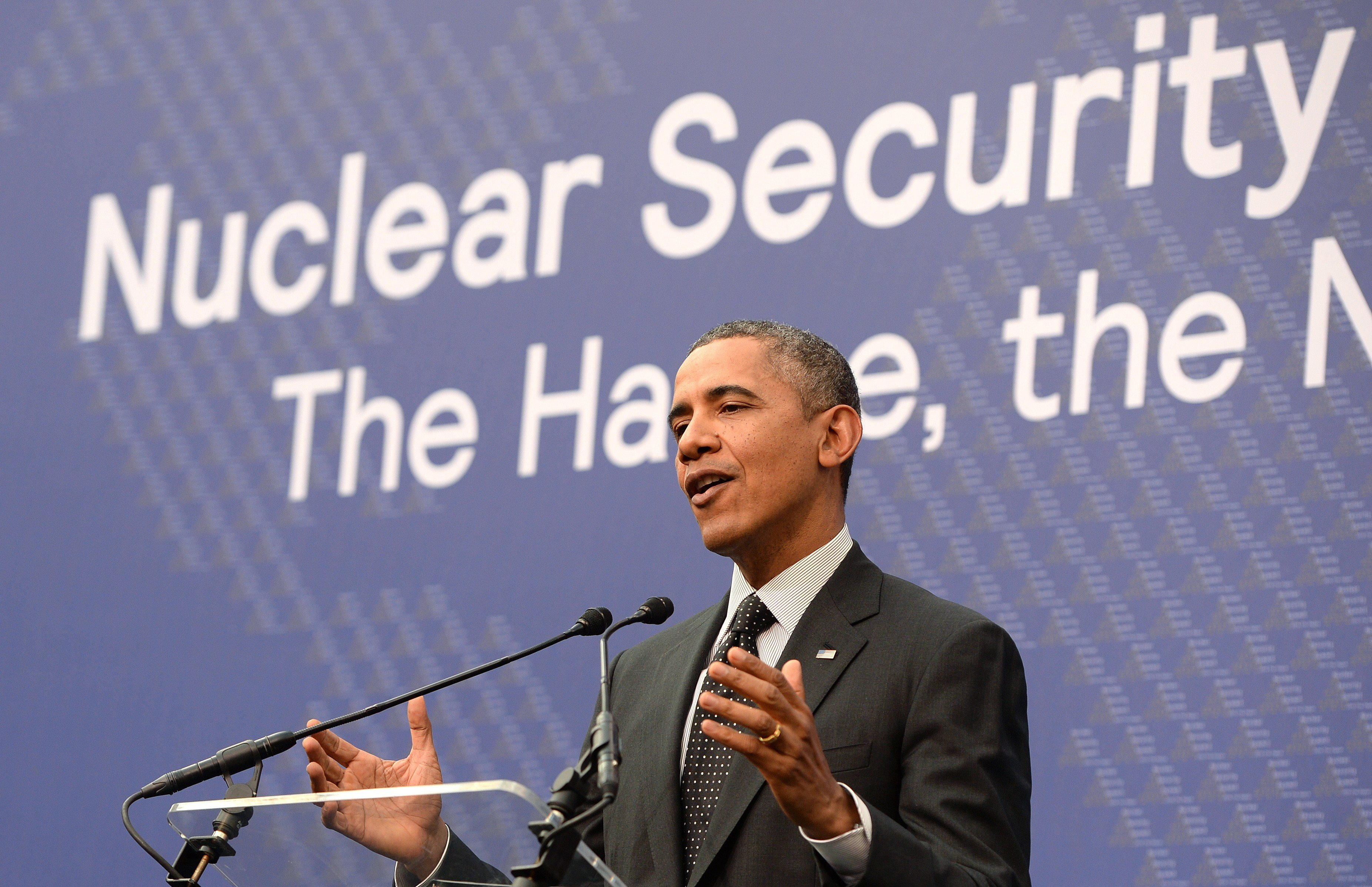 President Barack Obama holds a press conference in The Hague on March 25, 2014, at the end of the nuclear security summit in the Dutch city. (Patrik Stollarz/AFP/Getty Images)