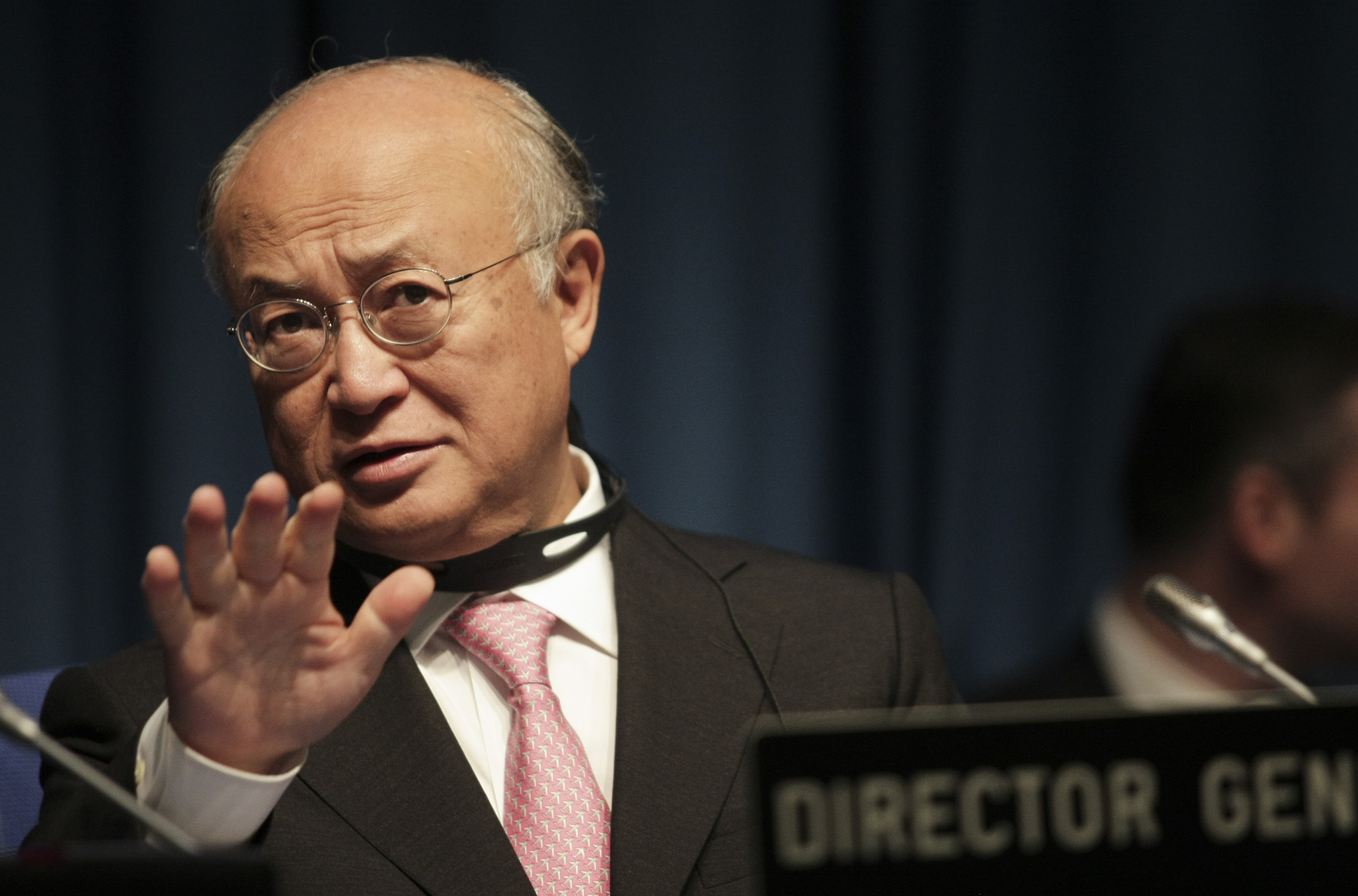 Yukiya Amano, director-general of the International Atomic Energy Agency, delivers remarks on July 1, 2013, the first day of a nuclear security conference at the agency's headquarters in Vienna. (Patrick Domingo/AFP/Getty Images)