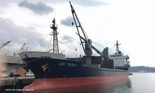 The Philippines will impound the North Korean ship Jin Teng as part of a sanctions enforcement effort. Photo taken by Camille Abadicio CNN Philippines.