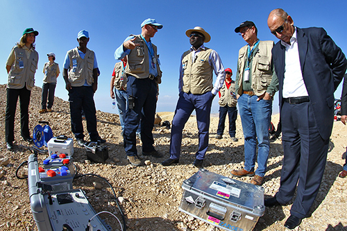 Lassina Zerbo (center right, in broad-brimmed hat), executive secretary of the Comprehensive Nuclear-Test-Ban Treaty Organization Preparatory Commission, participates in Integrated Field Exercise 2014 in Jordan on December 2, 2014. (CTBTO)