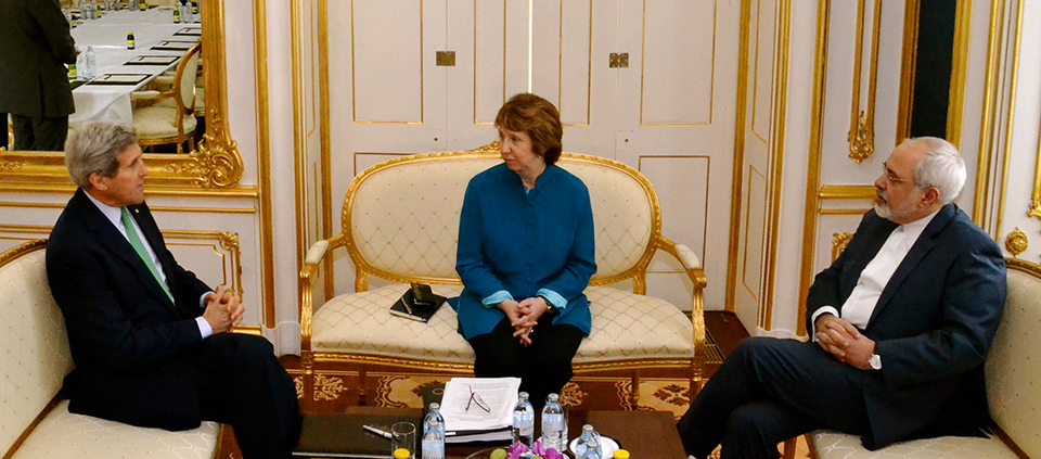 Secretary of State John Kerry (left) meets with EU foreign policy chief Catherine Ashton and Iranian Foreign Minister Mohammad Javad Zarif in Vienna on October 15. Ashton and Zarif are the lead negotiators in the talks between six world powers and Iran on Tehran's nuclear program. (U.S. Department of State)