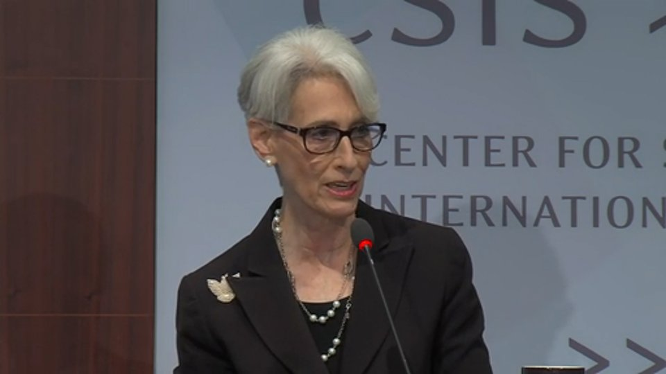 Wendy Sherman, undersecretary of state for political affairs and the head of the U.S. delegation to the talks on Iran's nuclear program, speaks at the Center for Strategic and International Studies on October 23 in this video image. (U.S. Department of State)