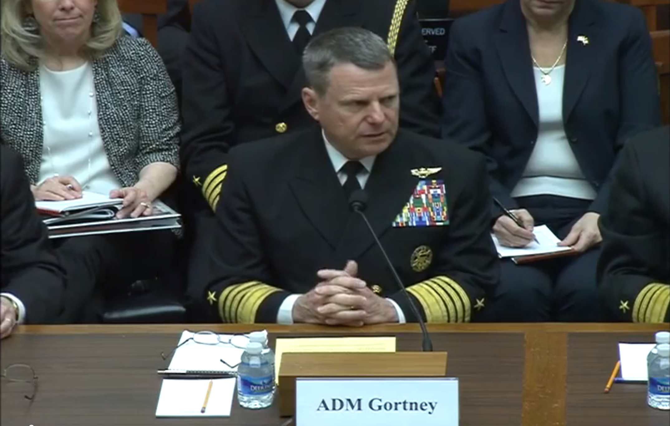 Admiral Bill Gortney, head of North American Aerospace Defense Command and U.S. Northern Command, testifies at a March 19 hearing of the House Armed Services Strategic Forces Subcommittee in this video image. (House Armed Services)