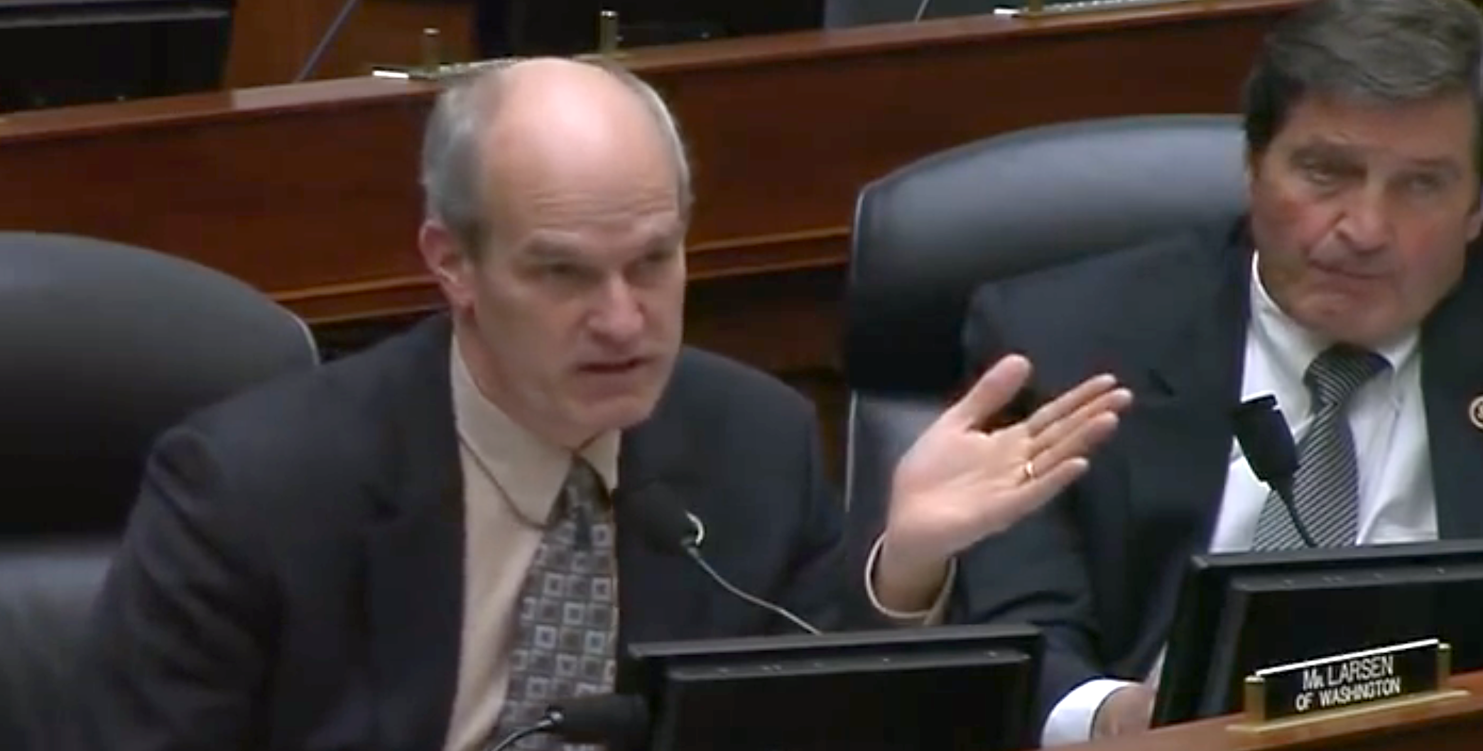 In this video image, Rep. Rick Larsen (D-Wash.) speaks at a February 26 hearing of the House Armed Services Strategic Forces Subcommittee. At the hearing, Larsen asked about a budget estimate made last year by U.S. Strategic Command. (House Armed Services)