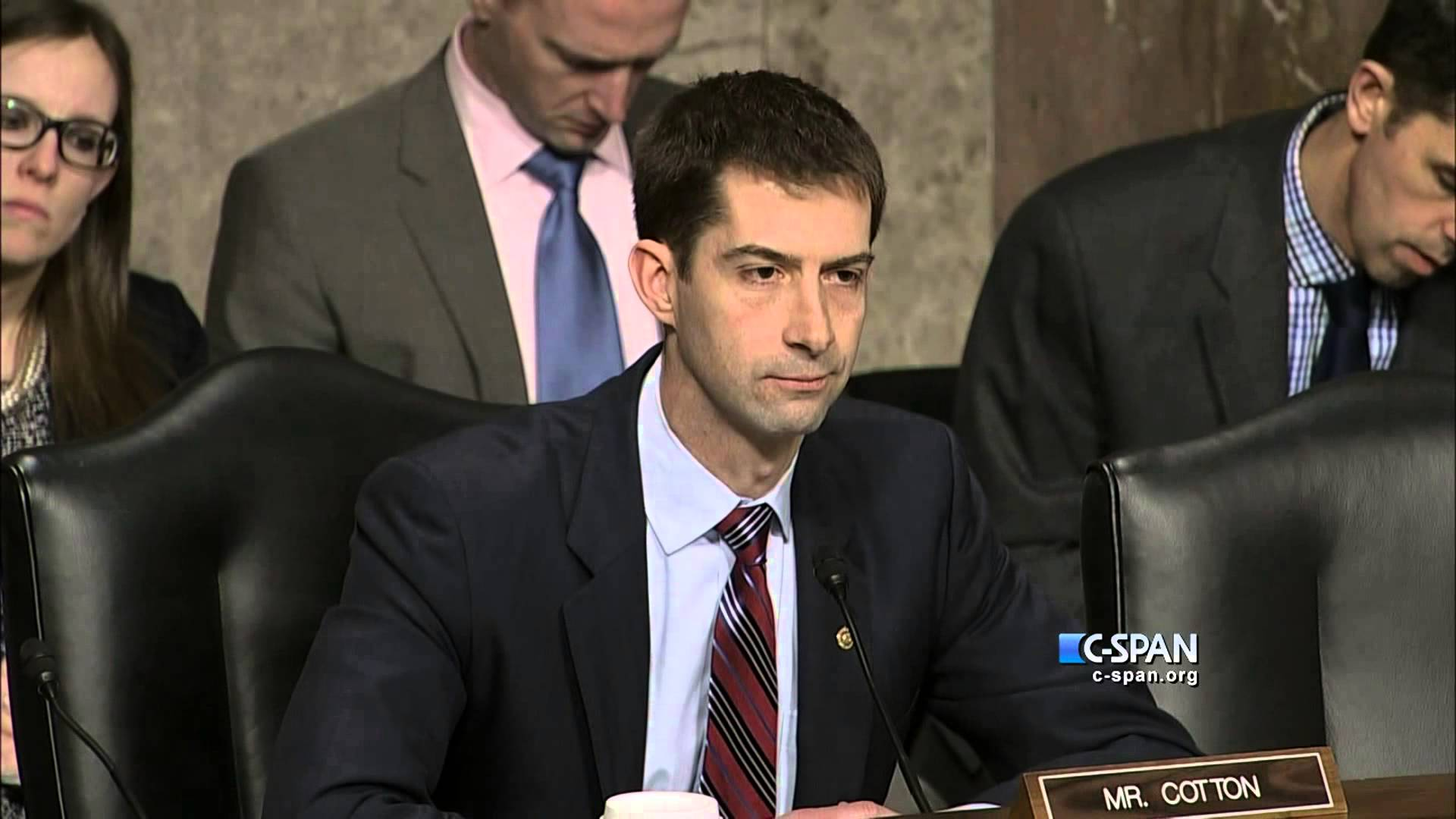 Senator Tom Cotton (R-Ark.) during a committee hearing.