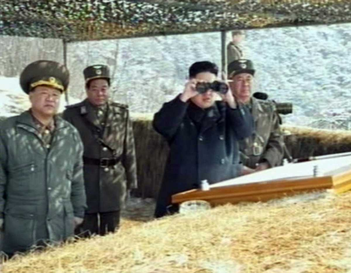 This video grab taken from North Korean TV on March 20, 2013 shows North Korean leader Kim Jong Un overseeing a live-fire military drill. The authors say that nuclear-inferior states are often the biggest risk-takers in serious nuclear crises, as suggested by the Soviet Union in the Berlin crises and North Korea in 2013 and perhaps now. Credit: AFP/Handout/Getty Images
