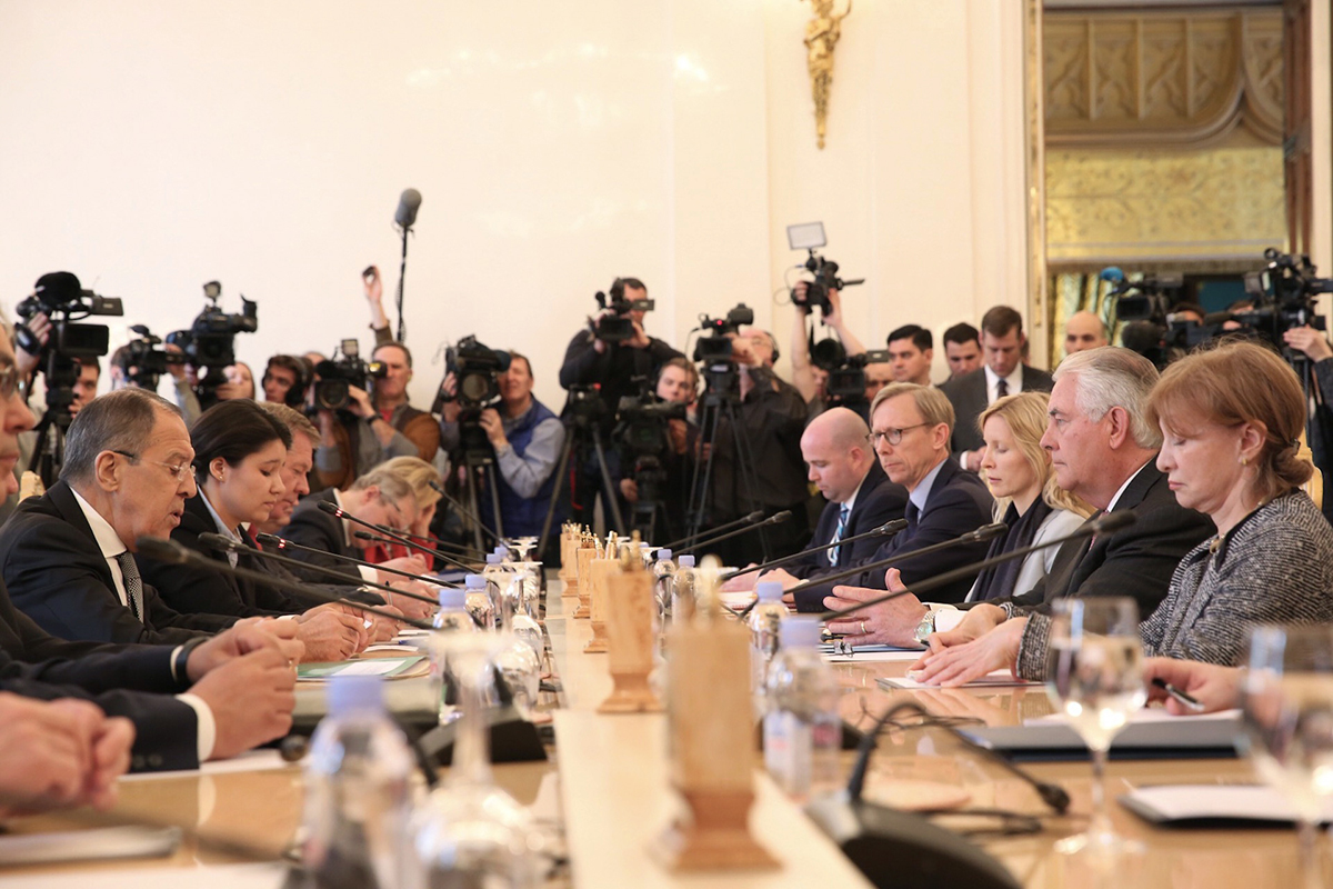 As news cameras and journalists look on, Russian Foreign Minister Sergey Lavrov makes opening remarks at a meeting with U.S. Secretary of State Rex Tillerson and his delegation in Moscow on April 12. (Photo credit: U.S. Department of State)