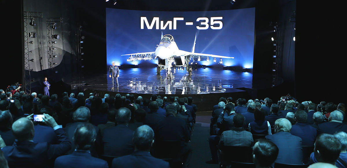 The new Russian multipurpose MiG-35 jet fighter, due to begin entering service in 2019, is displayed on a podium during its presentation at the MiG plant in Lukhovitsy, 90 miles southeast of Moscow, on January 27. (Photo credit: Marina Lystseva/AFP/Getty Images)
