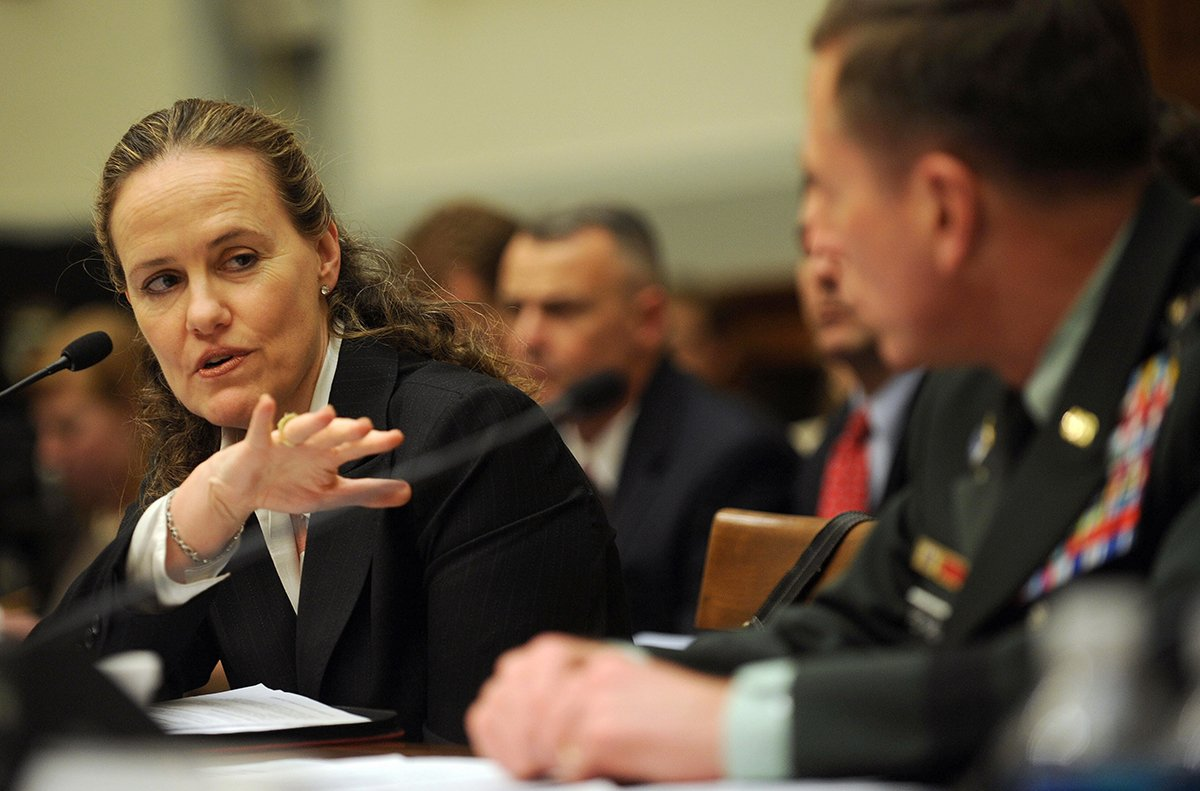 Undersecretary of Defense for Policy Michèle Flournoy testifies with General David Petraeus, commander of the U.S. Central Command, at a House Armed Services Committee hearing April 2, 2009. (Photo Credit: Tim Sloan/AFP/Getty Images)