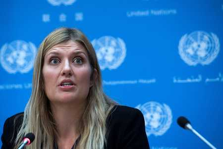 Beatrice Fihn, executive director of the International Campaign to Abolish Nuclear Weapons (ICAN), answers a question during a press conference at the United Nations headquarters in New York on October 9, three days after the announcement that the group won the 2017 Nobel Peace Prize.  (Photo credit: JEWEL SAMAD/AFP/Getty Images)