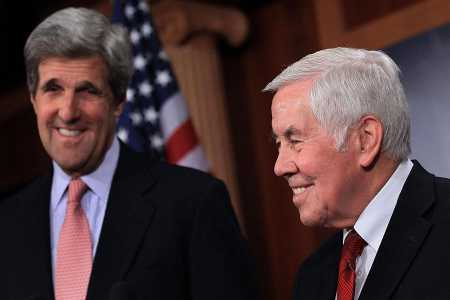 In a display of bipartisanship, the U.S. Senate provided its advice and consent to ratification of the New Strategic Arms Reduction Treaty (New START) by a vote of 71-26 on December 22, 2010. Then-Senators John Kerry (D-Mass.) and Richard Lugar (R-Ind.), who together led the push for treaty ratification, met with reporters a day earlier, after winning a procedural vote. (Photo: Mark Wilson/Getty Images)