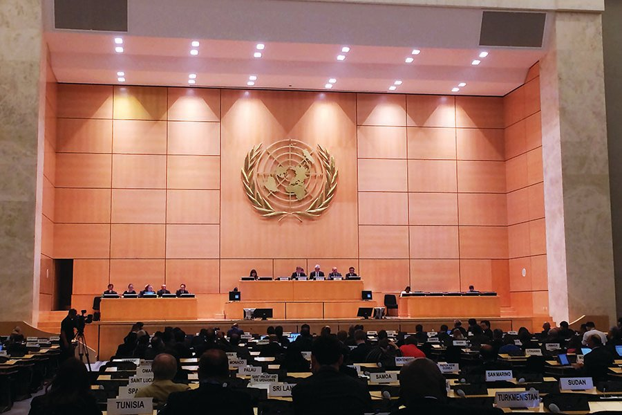 At the Palais des Nations in Geneva, diplomats from more than 100 countries participate April 30 at the international conference to prepare for the 2020 review of the nuclear Nonproliferation Treaty. (Photo: Alicia Sanders-Zakre/Arms Control Association)