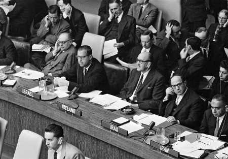 Irish Foreign Minister Frank Aiken (center) listens to the debate at the First Committee of the General Assembly on October 8, 1958. Also shown in the photo are (front row, left to right): L. Vitetti (Italy); Abba Eban (Israel); H. Jawad (Iraq); and D. Abdoh (Iran).  (UN Photo/MB)
