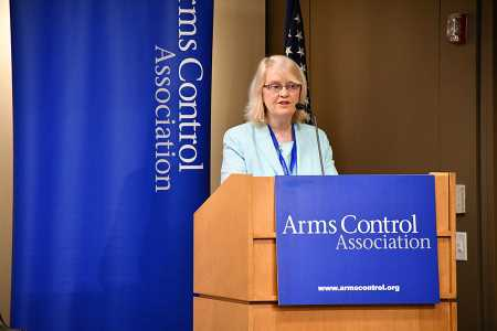 Jackie O'Halloran Bernstein speaks at the annual meeting of the Arms Control Association on April 19 in Washington. (Photo: Allen Harris/Arms Control Association)