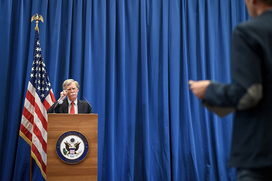 John Bolton, the U.S. national security adviser, addresses a press conference at the U.S. Mission in Geneva on August 23, following a meeting with his Russian counterpart. (Photo: Fabrice Coffrini/AFP/Getty Images)