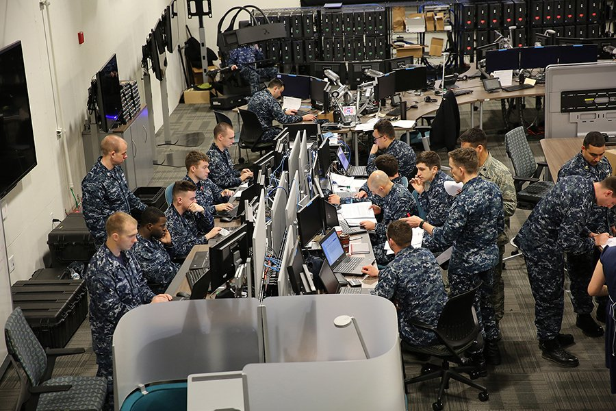 Sailors work together during an April 2017 U.S. Cyber Command exercise at Fort Meade, Md. (Photo: U.S. Cyber Command)