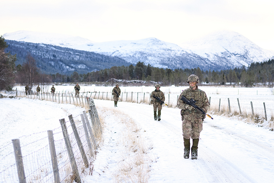 British Army Royal Engineers take part in a patrol exercise October 25 in Telneset, Norway, ahead of Trident Juncture 18, NATO's largest exercise since the Cold War. (Photo: Leon Neal/Getty Images)