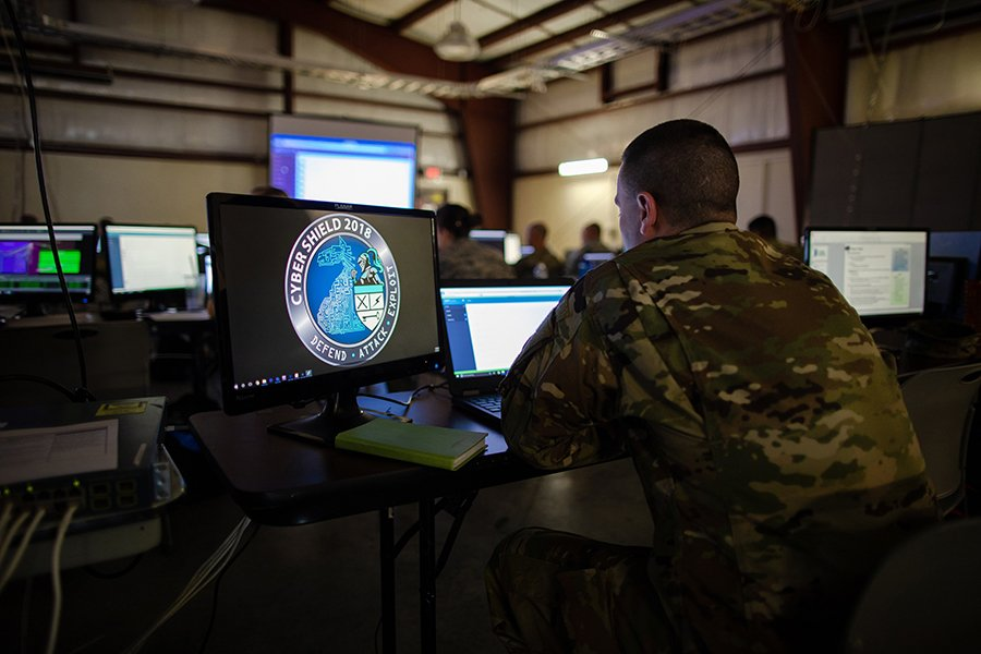 More than 800 service members and civilians took part in Cyber Shield 18, an Army National Guard training exercise at Camp Atterbury, Indiana from May 6 to 18. (Photo: Staff Sgt. Jeremiah Runser/U.S. Army Cyber Command)