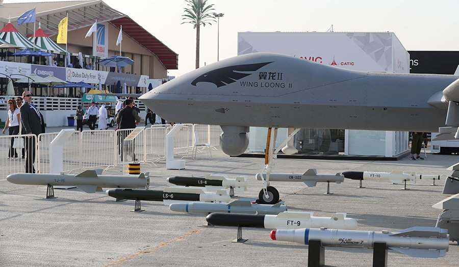 The Chinese-made Wing Loong II unmanned aerial vehicle (UAV) is displayed during the November 2017 Dubai Airshow. (Photo: Karim Sahib/AFP/Getty Images)