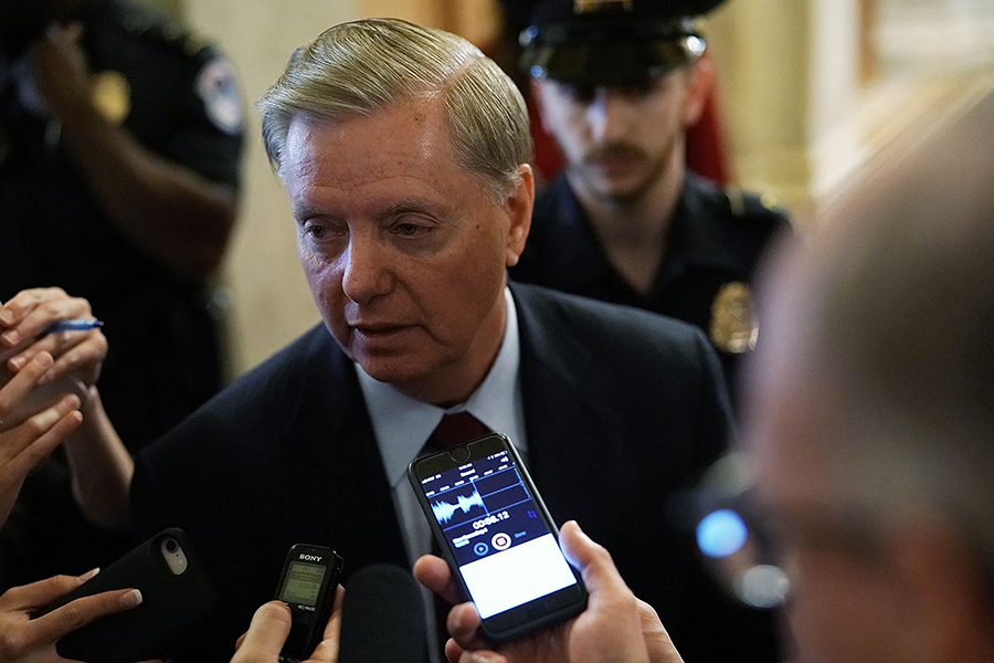 Senator Lindsey Graham (R-S.C.) fought in Congress for years against the efforts to terminate the costly and delayed mixed-oxide fuel fabrication project in his state. (Photo: Alex Wong/Getty Images)
