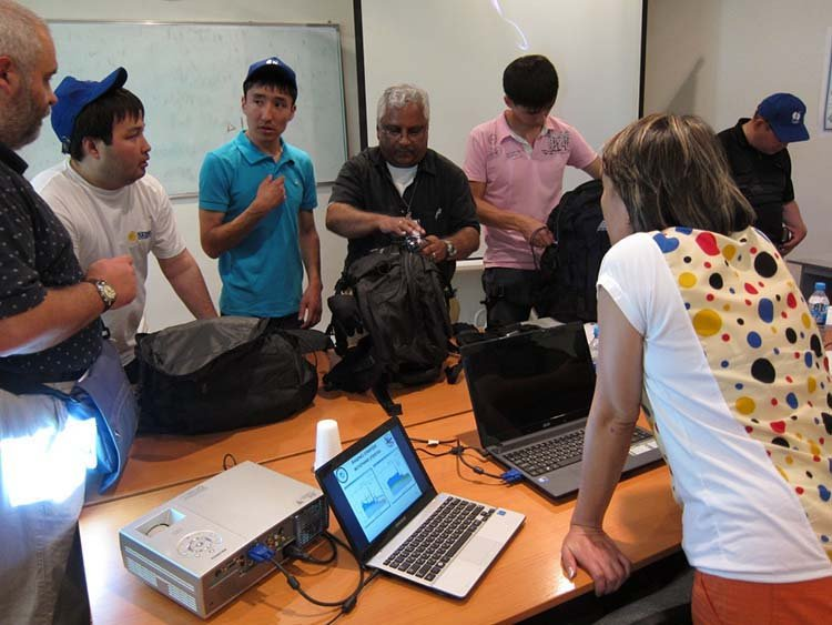 The U.S. National Nuclear Security Administration holds an International Radiological Assistance Program Training for Emergency Response class in Almaty, Kazakhstan, in July 2013. The training included using radiation detection equipment to locate hidden radioactive sources. (Photo: National Nuclear Security Administration)