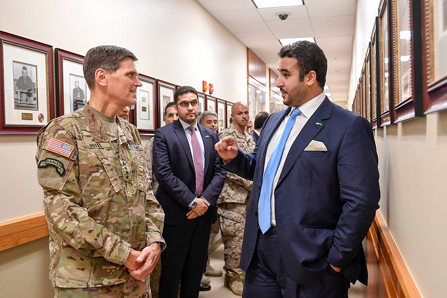 U.S. Army Gen. Joseph Votel, commander, U.S. Central Command, welcomes Prince Khalid bin Salman, Saudi ambassador to the United States, at USCENTCOM headquarters, MacDill Air Force Base, Fla., on July 31, 2018. (Photo: U.S. Air Force)