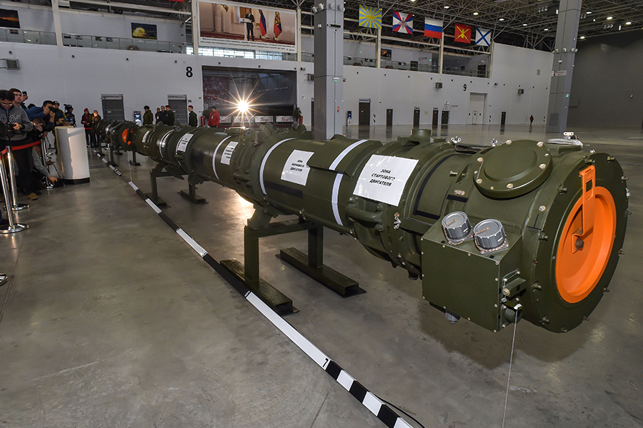 Russia displays a purported canister for the 9M729 cruise missile near Moscow on January 23. The United States has charged that the missile can fly farther than allowed by the INF Treaty. (Photo: Daniel Mihailescu/AFP/Getty Images)