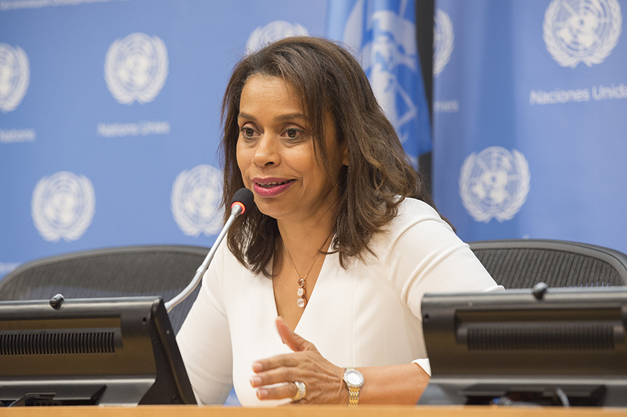 Amb. Elayne Whyte Gómez, permanent representative of Costa Rica to the United Nations at Geneva, and president of the UN conference that negotiated the Treaty on the Prohibition of Nuclear Weapons, speaks to the media in July 2017. (Photo: Eskinder Debbie/UN)
