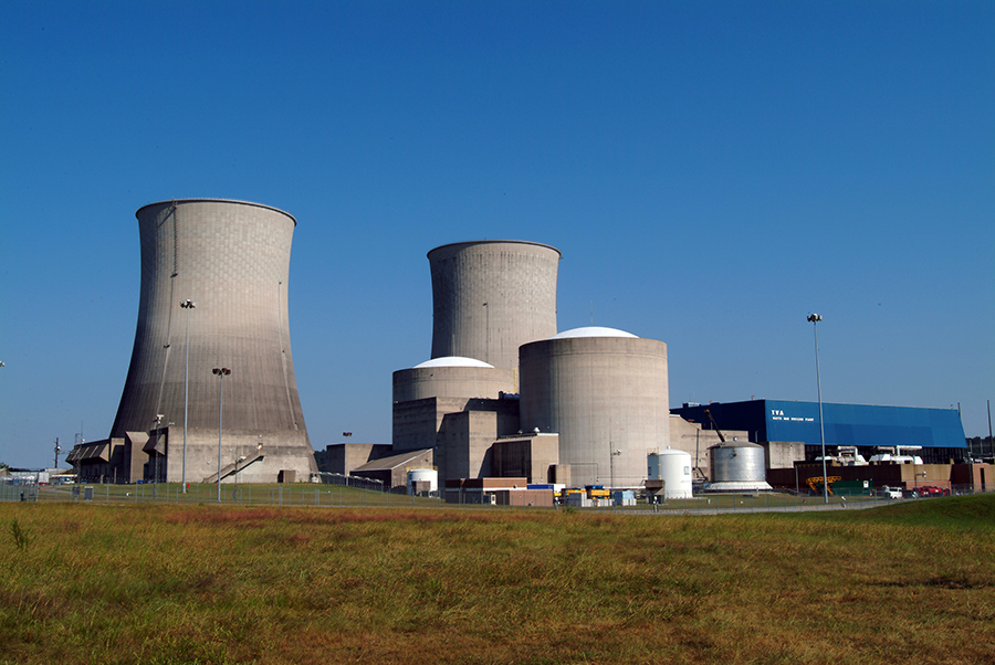 Unit 1 of the Watts Bar Power Plant, operated by the Tennessee Valley Authority, is the only reactor producing tritium for U.S. nuclear weapons. A second reactor at the site is expected to begin supplementing tritium production in 2020. (Photo: Tennessee Valley Authority)