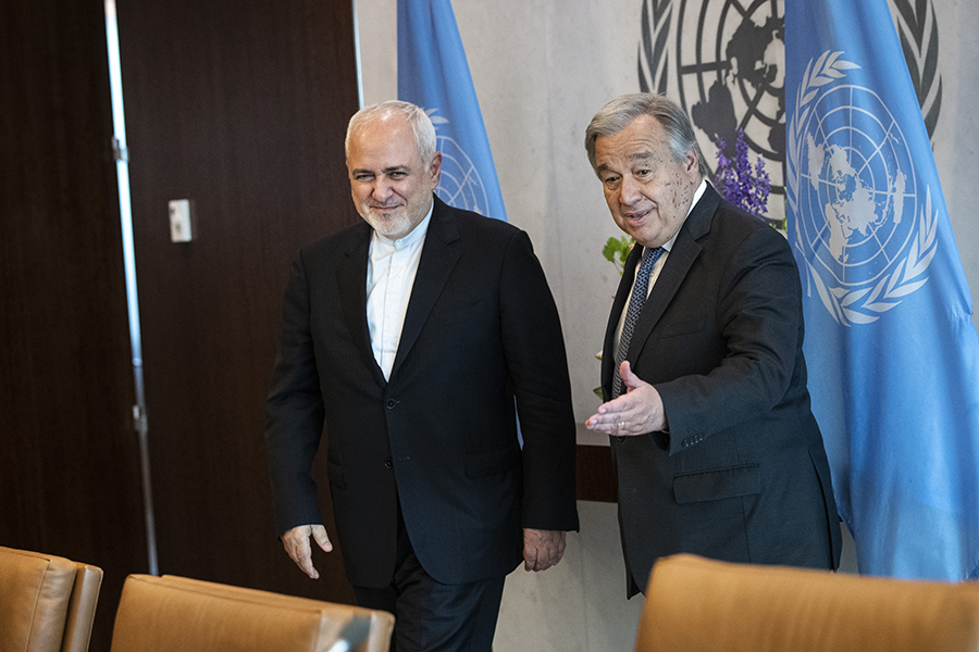 Iranian Foreign Minister Mohammad Javad Zarif (left) meets UN Secretary-General Antonio Guterres at United Nations headquarters on July 18. In new sanctions, the United States has limited Zarif's travel, but will allow him to attend UN meetings in New York. (Photo: Drew Angerer/Getty Images)