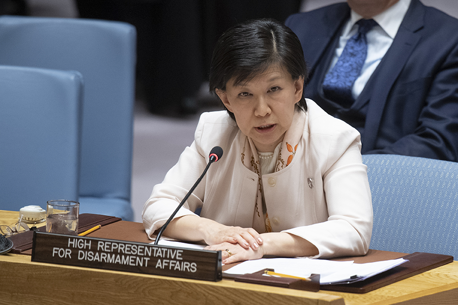Izumi Nakamitsu, the UN high representative for disarmament affairs, briefs the Security Council on nuclear nonproliferation on April 2.  The United Nations has supported greater visibility for women in arms control. (Photo: United Nations)