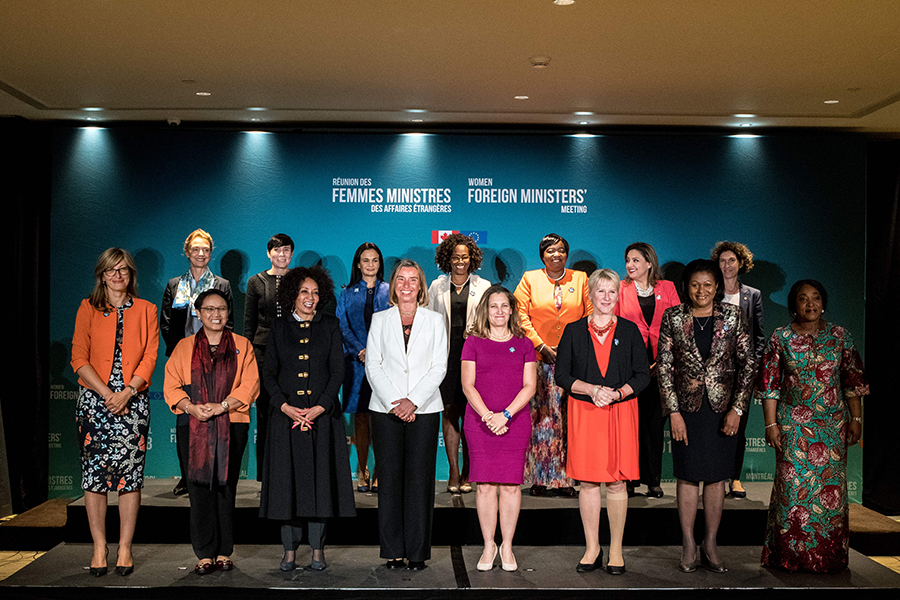 Canada convened a summit of women foreign ministers in Montreal in 2018. The meeting was a high-level of example of how networking and mentoring can support women in leadership positions. (Photo: Martin Ouellet-Diotte/AFP/Getty Images)