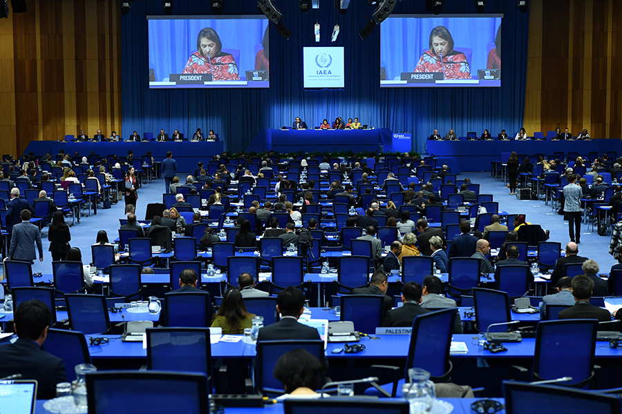 The International Atomic Energy Agency's General Conference, shown here in September, typically meets for five days, each ending late in the evening. Rethinking how such diplomatic meetings are organized could help to improve the delegates' work-life balance and enable greater participation of women, who often face an unequal division of family tasks at home. (Photo: Dean Calma/IAEA)
