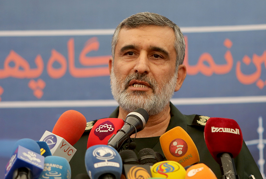 Gen. Amir Hajizadeh, head of the Revolutionary Guard's Aerospace Force Command, speaks in 2019. He announced Iran's development of a new, solid-fueled ballistic missile during a Feb. 9 ceremony. (Photo by Atta Kenare/AFP/Getty Images)