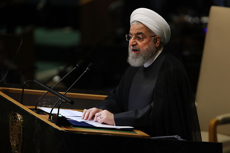 "Iranian President Hassan Rouhani addresses the UN General Assembly on Sept. 25, 2018. He has vowed a ""crushing response"" if the arms embargo on Iran is extended. (Photo: Spencer Platt/Getty Images)"