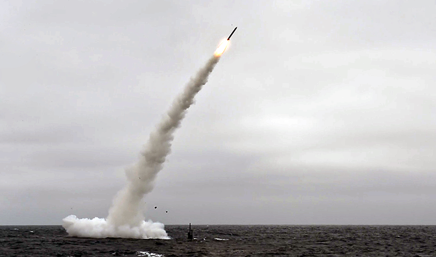 The USS Annapolis submarine test launches a Tomahawk Land Attack Missile off the coast of California in 2018. The Trump administration is proposing to acquire Tomahawks to launch from land which would have previously been banned by  INF Treaty. (Photo: U.S. Navy)