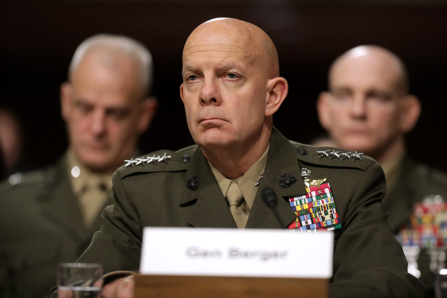 Commandant of the Marine Corps Gen. David Berger testifies before the Senate Armed Services Committee in December 2019. He later told the committee that the United States can now assess ground-launched cruise missiles once banned by the INF Treaty. (Photo: Chip Somodevilla/Getty Images)