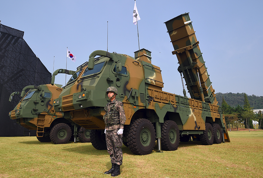 South Korea displays a Hyunmoo-2 missile system in 2017. The missile has served as the basis for a new missile with greater range and payload capacity. (Photo: Jung Yeon-Je/AFP/Getty Images)