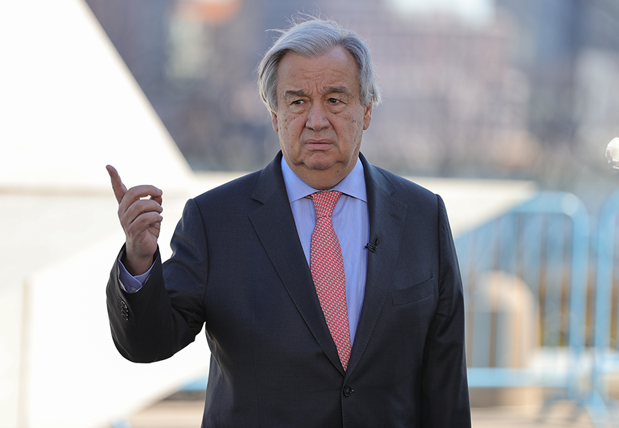 UN Secretary-General Antonio Guterres speaks outside UN Headquarters on March 9. His call for a global ceasefire to allow the world to address the coronavirus pandemic has met with limited success. (Photo: EuropaNewswire/Gado/Getty Images)