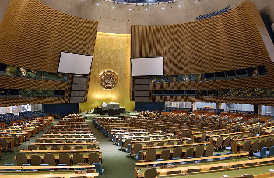 The UN General Assembly Hall will have to wait until August 2021 to host the delayed 2020 NPT Review Conference.  (Photo: Sophia Paris/UN)