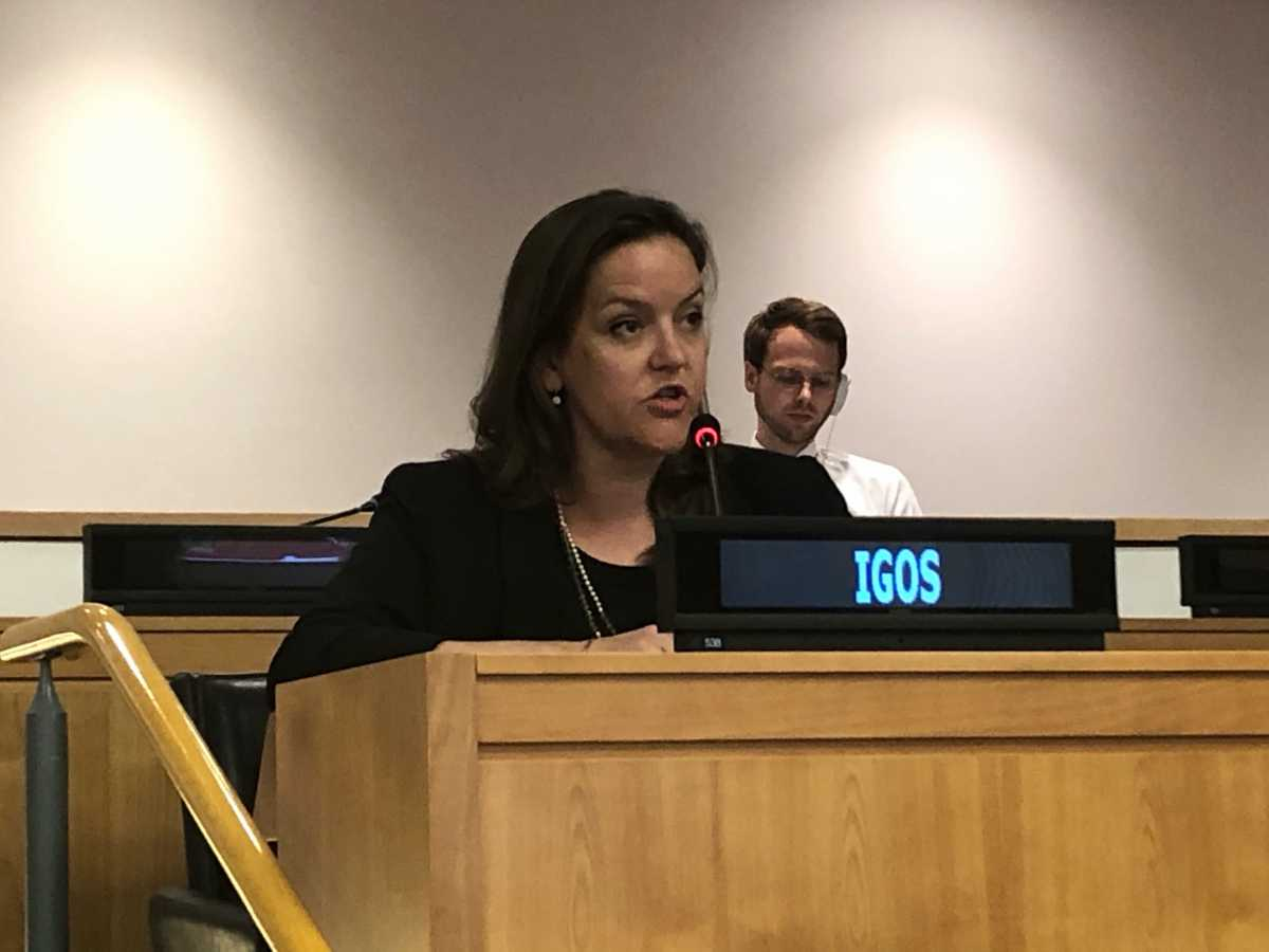 Alex Bell, senior policy director for Center for Arms Control & Non-Proliferation, presented a statement from over 40 civil society leaders calling for entry into force of the Comprehensive Test Ban Treaty (CTBT),  Sept. 25, 2019. (Photo: Shannon Bugos/Arms Control Association)