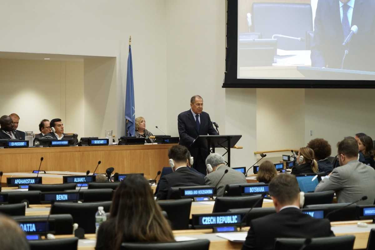 Russian foreign minister Sergey Lavrov addresses the 11th Conference on Facilitating the Entry into Force of the Comprehensive Nuclear-Test-Ban Treaty, New York, September 25, 2019 (Photo:  Ministry of Foreign Affairs)