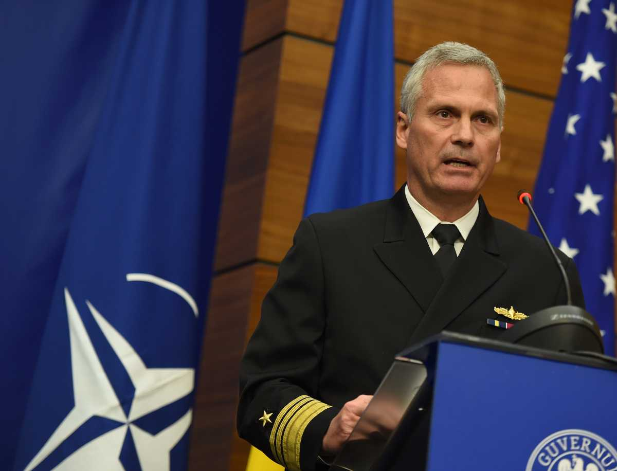 US Vice Admiral James Syring, Director of the Missile Defence Agency, delivers a speech at the Romanian Foreign Ministry during a ceremony declaring the technical capability of missile facility Aegis Ashore at the military base Deveselu, in Bucharest on December 18, 2015. (Photo: DANIEL MIHAILESCU/AFP/Getty Images)