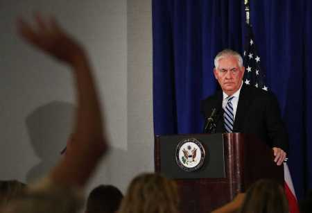 NEW YORK, NY - SEPTEMBER 20: Secretary of State Rex Tillerson speaks to the media following a meeting with Iranian leaders over the Iran nuclear deal on September 20, 2017 in New York City. President Donald Trump declared on Wednesday that he had reached a decision about how to proceed with the controversial nuclear agreement. (Photo by Spencer Platt/Getty Images)