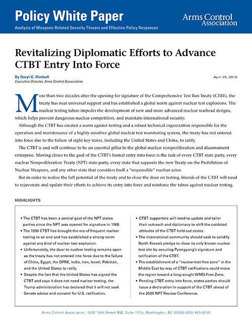 Revitalizing Diplomatic Efforts to Advance CTBT Entry Into